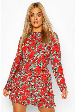 Red Plus Tiered Ruffle Floral Mini Dress
