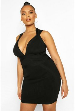 Black Plus Bandage Mini Dress