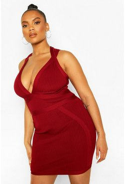 Plus Bandage Mini Dress, Red