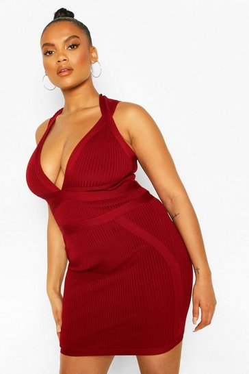 Red Plus Bandage Mini Dress
