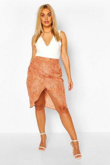 Rust Plus Smudge Spot Satin Wrap Midi Skirt