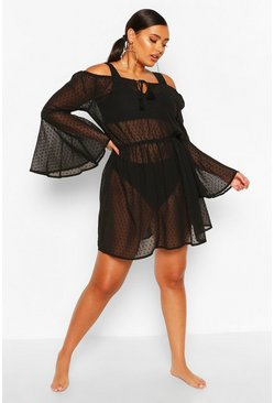Black Plus Dobby Off Shoulder Beach Dress