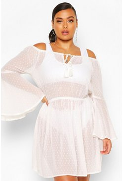 White Plus Dobby Off Shoulder Beach Dress