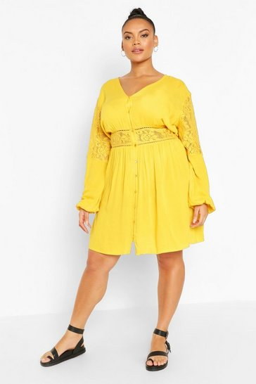 Mustard Plus Woven Lace Detail Smock Dress