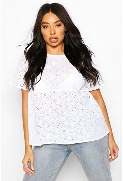 White Plus Broiderie Smock Top