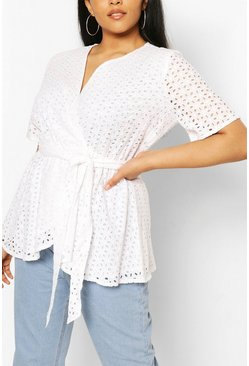 White Plus Broderie Anglaise Wrap Belted Top