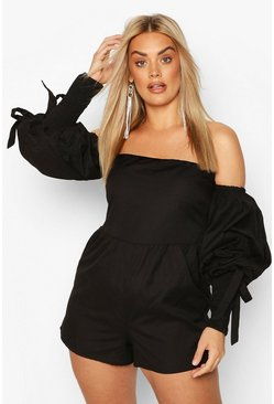 Black Plus Linen Puff Sleeve Shirred Romper