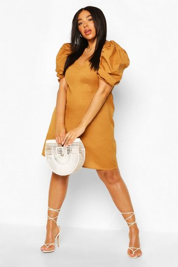 Tan Plus Linen Sleeve A Line Mini Dress
