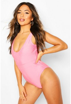 Pink Petite Scoop Back Belted Swimsuit