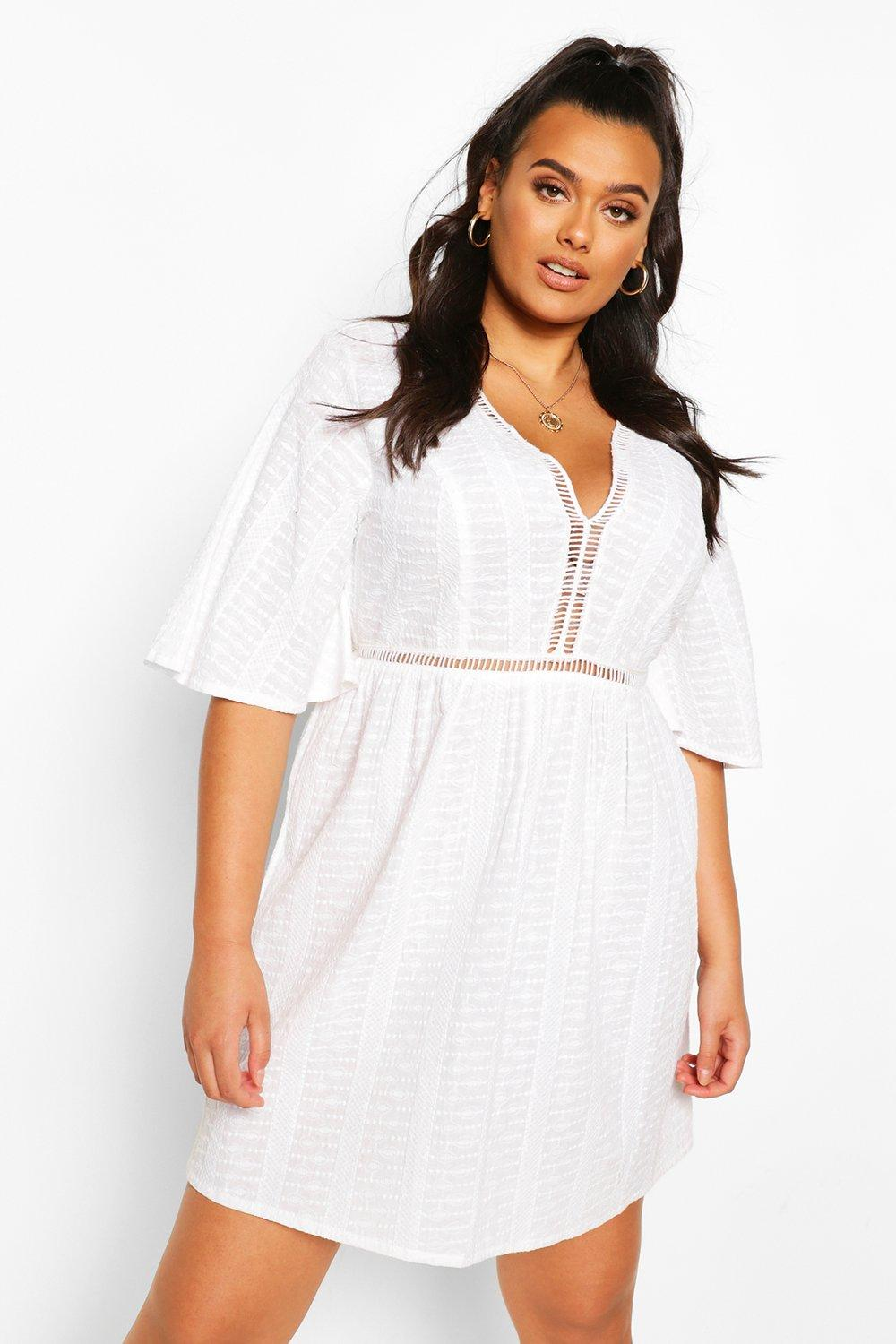 Plus Embroidered Broiderie Skater Dress 6