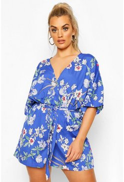 Blue Plus Oriental Floral Wrap Playsuit