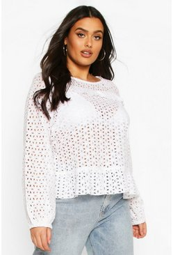 White Plus Broiderie Ruffle Long Sleeve Blouse