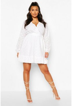 White Plus Broderie Anglaise Skater Dress