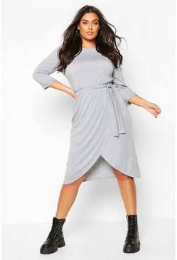 Grey Plus 3/4 Sleeve Tie Waist Wrap Midi Dress