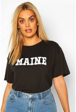 T-shirt Plus Maine a maniche corte, Nero