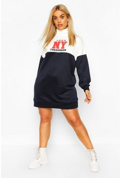 Navy Plus Roll Neck Colour Block Slogan Sweat Dress