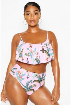 Pink Plus Tropical Leaf Frill High Waist Bikini