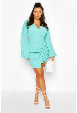 Turquoise Plus Plunge Balloon Sleeve Shift Dress