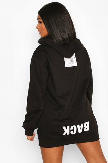 Black Plus Back Print Slogan Hoodie Sweat Dress