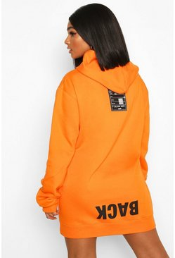 Orange Plus Back Print Slogan Hoodie Sweat Dress