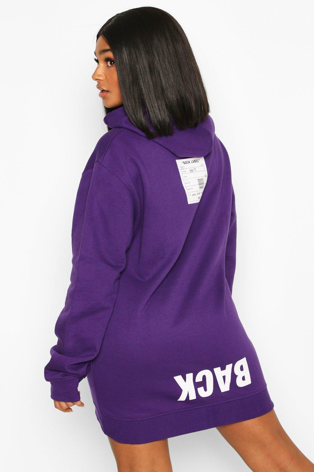 Plus Back Print Slogan Hoodie Sweat Dress 7