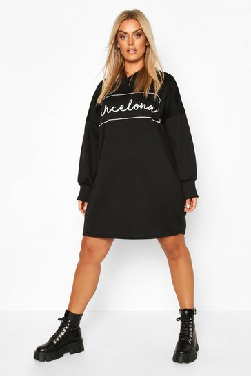 Womens Black Plus Barcelona Oversized Hooded Sweat Dress
