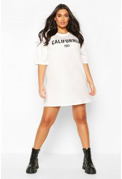 Ecru Plus California Drop Armhole T-Shirt Dress