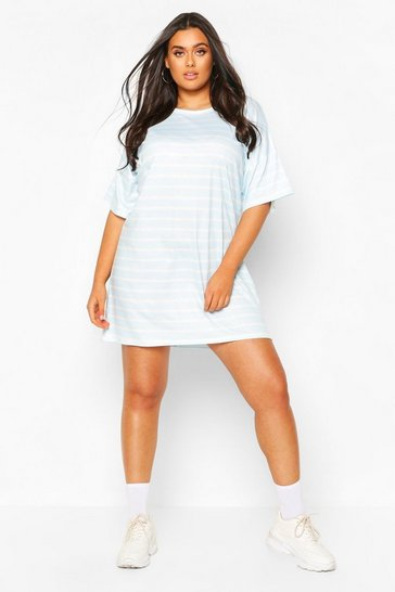 Baby blue Plus Striped Oversized T-Shirt Dress
