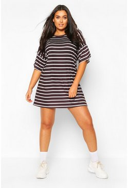 Black Plus Striped Oversized T-Shirt Dress
