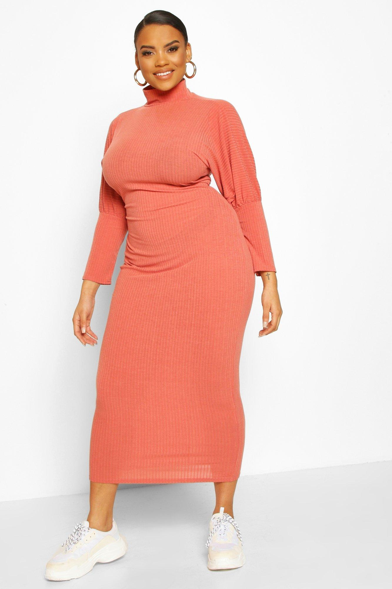 Plus Soft Rib Roll Neck Midaxi Dress 2