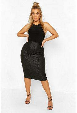 Black Plus Croc Coated Midi Skirt