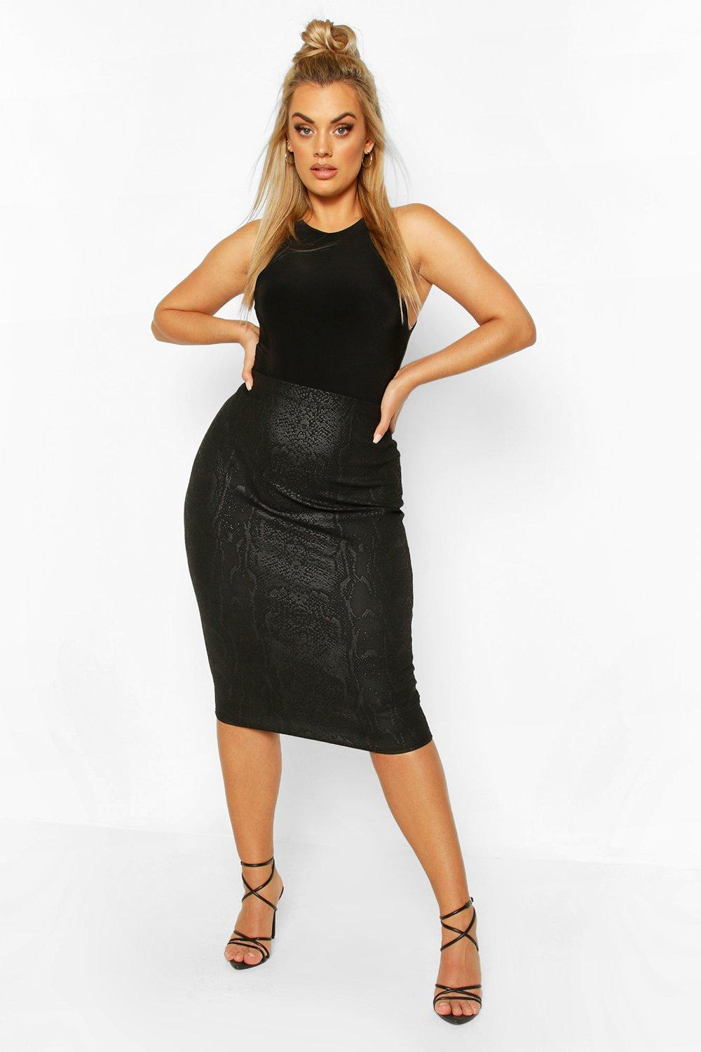 Plus Croc Coated Midi Skirt 6