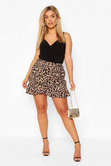 Brown Plus Leopard Print Ruffle Skater Skirt