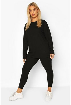 Black Plus Oversized Rib Top & Legging Co-ord