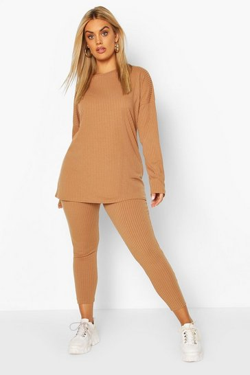 Camel Plus Oversized Rib Top & Legging Co-ord