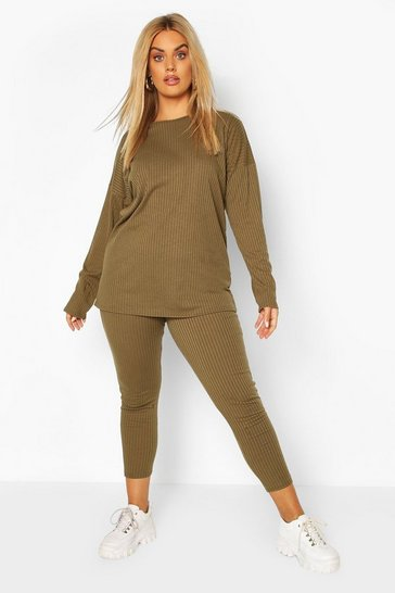 Khaki Plus Oversized Rib Top & Legging Co-ord