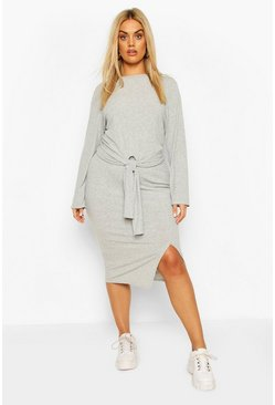 Grey Plus Soft Rib Top & Midi Skirt Co-ord