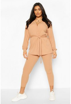 Camel Plus Rib Cardigan & Legging Lounge Set