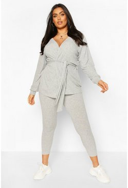 Grey Plus Rib Cardigan & Legging Lounge Set