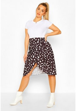 Black Plus Satin Smudge Print Midi Skirt