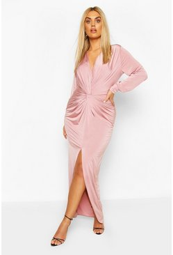 Rose Plus Twist Front Plunge Maxi Dress
