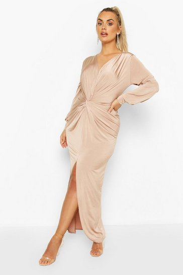 Stone Plus Twist Front Plunge Maxi Dress