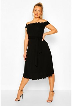 Black Plus Scallop Edge Off The Shoulder Midi Dress