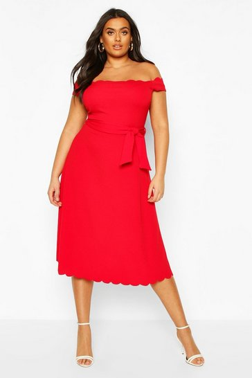 Red Plus Scallop Edge Bardot Midi Dress