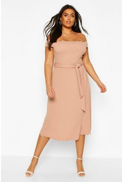 Stone Plus Scallop Edge Bardot Midi Dress