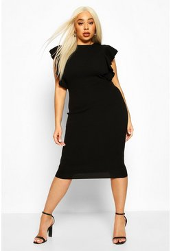 Black Plus Double Ruffle Sculpted Midi Dress