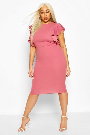 Rose Plus Double Ruffle Sculpted Midi Dress