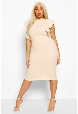 Sand Plus Double Ruffle Sculpted Midi Dress
