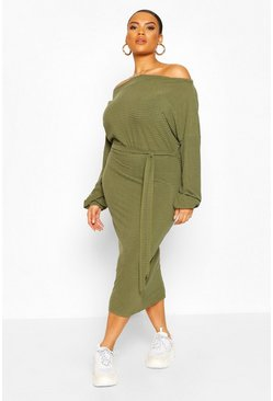 Khaki Plus Soft Rib Slash Neck Midi Dress