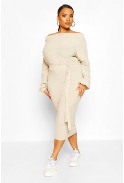 Stone Plus Soft Rib Slash Neck Midi Dress